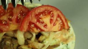 Shawarma ντοματών απόθεμα βίντεο