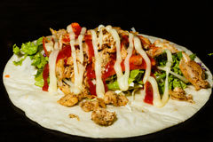 Shawarma with chicken. beef, pork - ready food in the market Royalty Free Stock Images