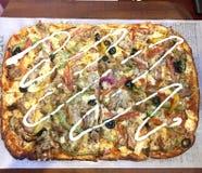 Shawarma chicken pizza. Delicious Italian Shawarma chicken pizza Stock Image