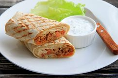 Shawarma with chicken, vegetables and herbs royalty free stock photography