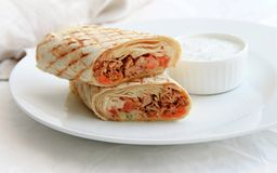 shawarma with chicken, vegetables and salad. royalty free stock images