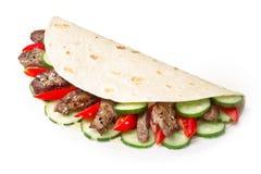 Shawarma de la carne de vaca aislado Imagen de archivo