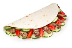 Shawarma de la carne de vaca aislado Imagenes de archivo