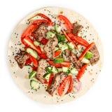 Shawarma de la carne de vaca aislado Foto de archivo libre de regalías