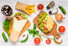 Shawarma and Doner Kebab with Fresh Vegetables royalty free stock images