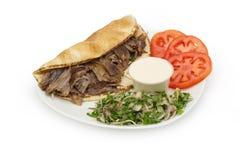 Shawarma Doner Kebab na talerzu zdjęcie stock