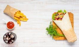 Shawarma en Snel Voedsel met Exemplaarruimte Stock Afbeeldingen
