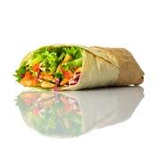 Shawarma ha isolato su fondo bianco Fotografia Stock