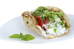 Shawarma. Isolated on a white background royalty free stock photos
