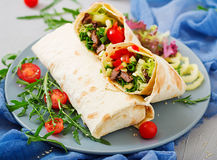 Shawarma from juicy beef, lettuce, tomatoes, cucumbers, paprika and onion Stock Images