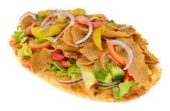 Shawarma Kebab Meat And Salad On Naan Bread Stock Photos