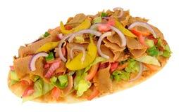 Shawarma Kebab Meat And Salad On Naan Bread Royalty Free Stock Image
