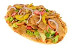 Shawarma Kebab Meat And Salad On Naan Bread Stock Photo