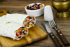 Shawarma Lavash with Chicken and Vegetables Royalty Free Stock Photos
