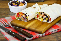 Shawarma Lavash with Chicken and Vegetables Stock Image
