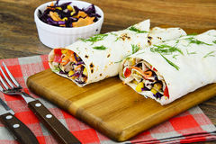 Shawarma Lavash with Chicken and Vegetables Royalty Free Stock Images
