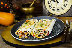 Shawarma Lavash with Chicken and Vegetables Stock Photo