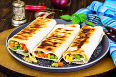Shawarma Lavash with Rice and Vegetables Stock Images