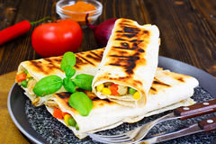 Shawarma Lavash with Rice and Vegetables Royalty Free Stock Photography