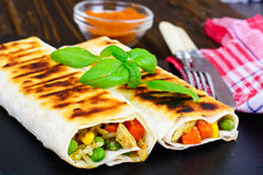 Shawarma Lavash with Rice and Vegetables Stock Photos