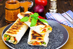 Shawarma Lavash with Rice and Vegetables Stock Photo