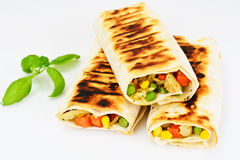 Shawarma Lavash with Rice and Vegetables Royalty Free Stock Images