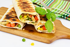 Shawarma Lavash with Rice and Vegetables Stock Photography