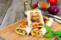 Shawarma Lavash with Rice and Vegetables Royalty Free Stock Photos