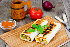 Shawarma Lavash with Rice and Vegetables Royalty Free Stock Photo