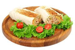 Shawarma with lettuce isolated on white background. fast food stock photography
