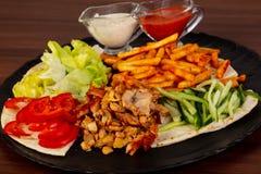 Shawarma na placa fotografia de stock