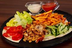 Shawarma nel piatto fotografia stock