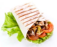 Shawarma in pita bread Royalty Free Stock Images