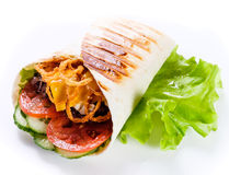 Shawarma in pita bread. This shawarma prepared by experienced chefs in a good cafe royalty free stock photography