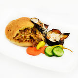 Shawarma in pita with scorched eggplant Royalty Free Stock Image