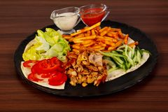 Shawarma in the plate. Shawarma with meat in the plate stock photo