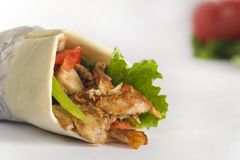 Shawarma sandwich, Doner Kebab. Arabic, Greek or Turkish sandwich with meat in white background Stock Photos