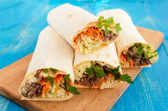 Shawarma sandwich - fresh roll of thin lavash pita bread filled with grilled meat Stock Photos