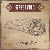 Shawarma sketch on grunge background. Royalty Free Stock Image