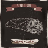 Shawarma sketch on grunge black background. Royalty Free Stock Photos