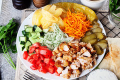 Shawarma still life on a plate top of meat chicken cabbage carrot onion pepper durum Stock Photography