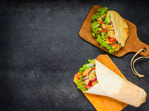 Shawarma and Turkish Sandwich with Copy Space Royalty Free Stock Image