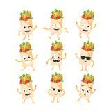 Shawarma - vector set of mascot illustrations. Royalty Free Stock Photography