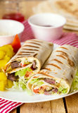 Shawarma wrap with beef and vegetables Royalty Free Stock Image