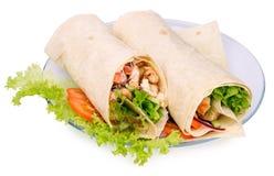 Shawarmas en lechuga Fotografía de archivo libre de regalías