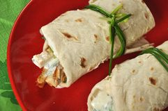 Shawarmas on red plate on green napkin Stock Images