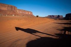 Shawdow de cheval se tenant devant le MESA de désert Image libre de droits
