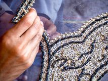 Shawl Embroidery. Elegant embroidery work in progress, a Traditional Craft of Pakistan Stock Photos