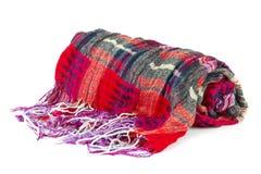 Shawl. Folded colorful shawl isolated on white background Stock Photography