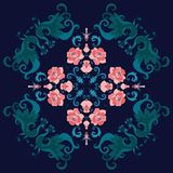 Shawl with peacocks and roses on dark background. Indian, persian motives. Lovely tablecloth stock illustration
